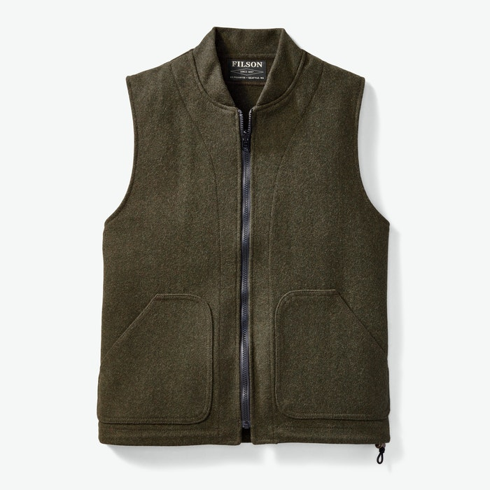 Men's Vintage Workwear Inspired Clothing Wool Vest Liner $175.00 AT vintagedancer.com