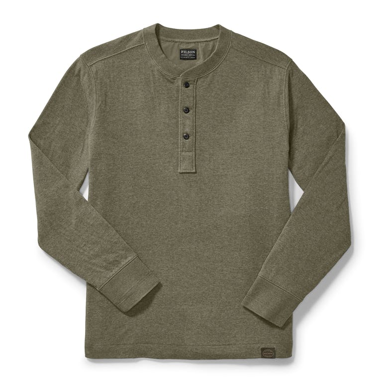 Discover the Filson Double Layer Henley. This midweight shirt can be worn on its own or used as a base layer.